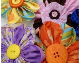 Handmade Sewn Fabric Flower Hair Clips, Purple and yellow hair clip, Orange, Yellow, & Blue hair clip