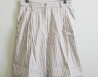 GUCCI Linen Cotton Striped Shorts ITALY 44 Medium - Gucci Long Beige Shorts