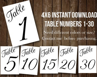 4x6 Table numbers PRINTABLE INSTANT DOWNLOAD Set of 30 black white wedding event  seating assignment, wedding table, gala, Prom,Ball