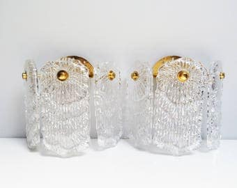 Pair Vintage Mid Century wall sconce light fixtures clear glass wall lamp transparent, light fixture Brass And Pressed Glass Height 7.5 in