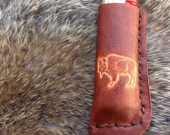 handmade leather bic lighter case with buffalo stamp, lighter pouch, lighter case, leather bic cover, third anniversary