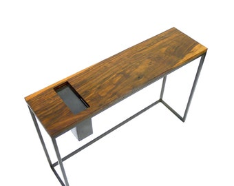 Solid walnut and steel console table