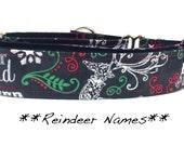 Martingale Dog Collar, Dog Collar, Adjustable Dog Collar, Custom Dog Collar, Christmas, Reindeer, Reindeer Names