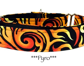 Martingale Dog Collar, Dog Collar, Quick Release Dog Collar, Flames, Red, Orange, Black, Pyro