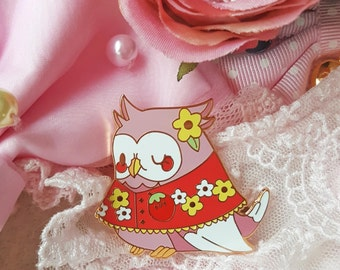 Granny Owl Hard Enamel Pin | Antique Kawaii Mori Girl Inspired Horned Owl Enamel Pin