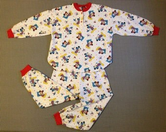 1990's, flannel, Mickey Mouse pajamas, Women's size Medium