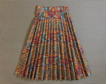 1970's, pleated, skirt, in patchwork print, Women's size XS