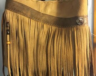 Light brown tan repurposed leather fringe bag boho hippie