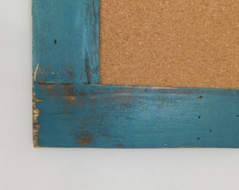 Large FRAMED CORK BOARD - Bulletin Board - Rustic, Distressed Wood - Shown in Jade - 24 x 36 - More Colors Available