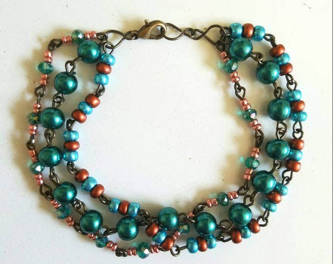 Copper Teal Beaded Copper Wire Link Bracelet