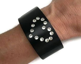 Heart bracelet cuff, womens black cuff bracelet, crystal studded bracelet, heart bracelet, heart cuff, gift for women, wife, girlfriend.