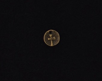 12 Pieces Tiny Rustic Coin Cross Charm, Small Cross Charms, Small round Cross, Double Sided Round Cross 9mm Antique Bronze Finish 3-33-B