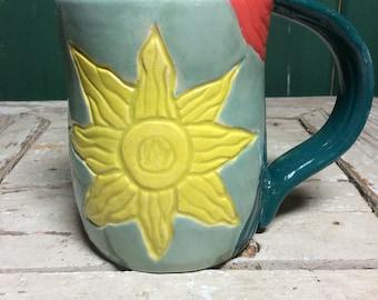 Ceramic Sun Mug Pottery Leaf Carved Mug Carved Mug Painted Cup