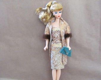 Vintage Barbie Clothes, 1960's Barbie Dress, #961 Evening Splendour, Vintage Barbie Dress, Coat