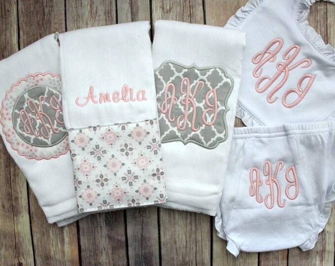 Baby Girl Gift Set, Monogrammed Baby Girl Gift, Baby Shower Gift, New Baby Girl Gift, Personalized Baby Girl, Custom Baby Gift, Pink Baby
