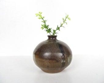 Vintage Studio Pottery Vase, Mid Century Modern Pottery Weed Pot, Earthen Pottery Bulbous Stoneware Vase