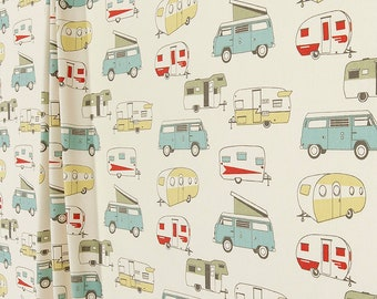 Camper CURTAINS, Spa Blue, Cream, Offwhite Curtains, Cars Campers, Trailers  VW