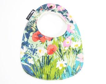Blue Floral Baby Bib |  Colorful Baby Girl Bib | Girl Baby Shower Gift | Floral Bib | Floral Baby Gift | Terry Cloth Bib | Baby Girl Bib