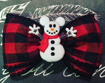 """Bows for Dogs or Girls - 2"""" Mickey Snowman Mini Bow - Mickey Mouse Holiday - Snowman - Holiday Bows - Dog Bows - Plaid"""