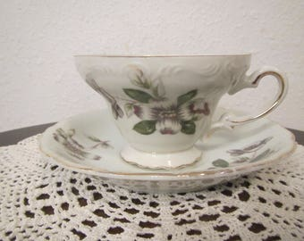 China Tea Cup and Saucer , Floral pattern , made in Japan  ( C-5 )