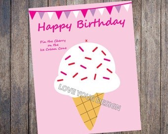 Ice Cream Pin the Cherry on the Ice Cream Cone Birthday Party Game INSTANT DOWNLOAD