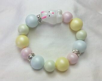 Easter Pastel Bunny Beaded Bracelet