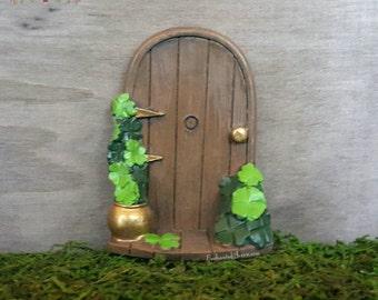 St. Patrick's Day Fairy Door - Irish Fairy Garden Miniature Accessories Celtic Fairy Garden Shamrock Green Fairy Door Leprechaun Pot of Gold