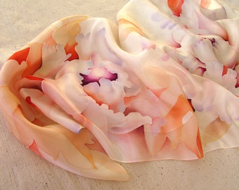 """Handpainted silk scarf """"Waiting for a miracle""""_Peonies_White_Peach_Сream"""