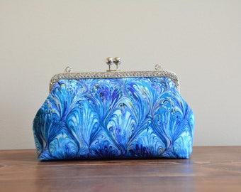 Blue wave print kisslock bag / clutch / evening bag / crossbody bag