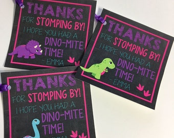 Dinosaur Printable Party Favor Tags, Printable Dinosaur Party Favors, Thank You, Girl Favor Tags, Girl DinosaurTags