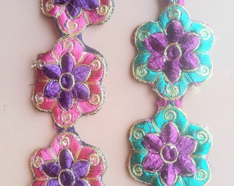 Green, Purple And Gold / Fuchsia Pink, Indigo And Gold Floral Trim - 200317L264/65