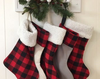 Christmas stockings /25% off use code BUFFALO /Buffalo Plaid Christmas Stockings /Sherpa Cuffs/ Coupon applies to Stockings only