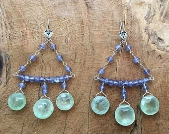 Prehnite Earrings | Mystic Quartz Earrings | Chandelier Earrings | Bohemian Earrings | Gemstone Earrings