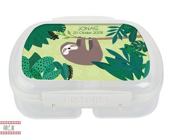 Sweet sloth lunch box with text