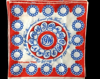 Frankie Welch Scarf Red White Blue The Bicentennial Council of the Thirteen Original States Qiana Nylon Scarf