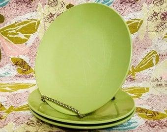 Green Melmac Plates Three (3) Small Mallo-Ware by Mallory Olive Avocado