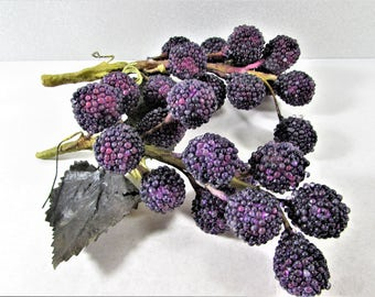 Purple Blackberry Stems Hard Plastic Leaves Fruit Berries
