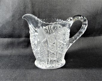 Paneled Daisy and Finecut Creamer Clear Glass EAPG Indiana Glass