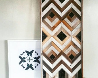 Geometric, Reclaimed wood wall art with stone accents  made to order