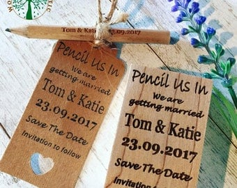 Wedding Rubber Stamp, Save The Date Rubber Stamp, Save The Date DIY Kit, Wedding Pencils, Wedding Tags, Save the Date Tags, Custom Stamp