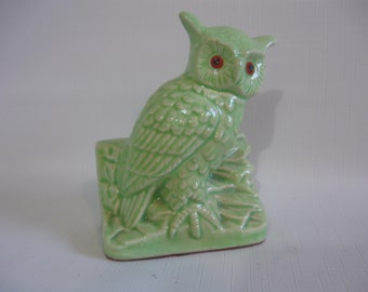 Owl on Wall Bookend - Green Ceramic Figurine with Red Cold Paint Eyes