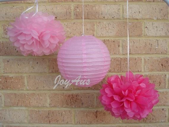 Pink Tissue Paper Pom Poms & Lanterns for Wedding Engagement Anniversary Birthday Party Bridal Baby Shower Decoration
