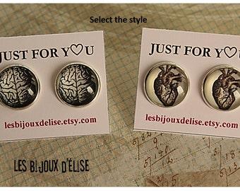 Sale - Human Brain Earrings Stud or Human Heart Studs Anatomical Studs Earrings- Handmade Post Earrings - Gift Earrings - 18mm (no2)