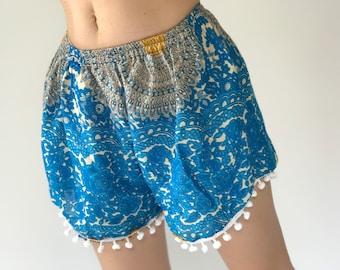 PP0064 Pom pom Shorts Beach Summer pants Freshy pants Fashion short Chic Clothing Aztec Ethnic Bohemian Ikat Boxers Short Pants Unique