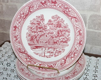 Memory Lane Royal China Ironstone 10 inch dinner plates dinnerware dishes,  set of 4, red transferware for mismatched , 1960's,