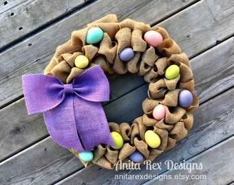 Easter Wreath, Easter Egg Wreath, Burlap Wreath, Spring Wreath, Easter Decor