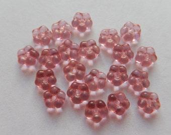 20  Dark Rose Pink Transparent Flower Czech Glass Beads  5.5mm