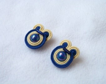 80s clip on earrings, soutache beige blue earrings, statement earrings, stud earrings, vintage earrings, bohemian earrings, unique earrings