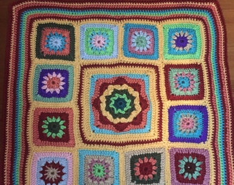 "Colorful  Crocheted Baby Blanket 22"" square"