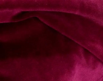 "Burgundy Velvet Fabric, Width 57"", Bordeaux Material Sold By the Yard"